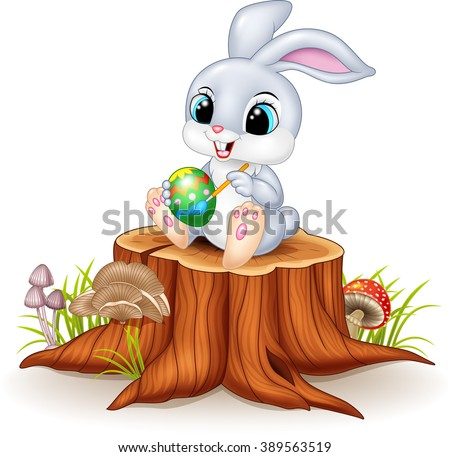 cartoon easter bunny painting