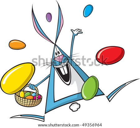 Cartoon Easter Bunny. Vector file. Bunny and eggs are on separate layers.