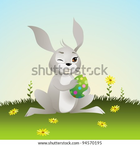 Cartoon Easter Bunny with Egg and Flower