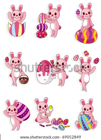 cartoon easter bunnies and eggs. stock vector : cartoon easter