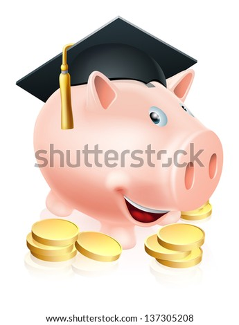 Cartoon education piggy bank with mortar board graduation hat on and gold coins. Concept for saving money for an education or schooling or college finances etc.