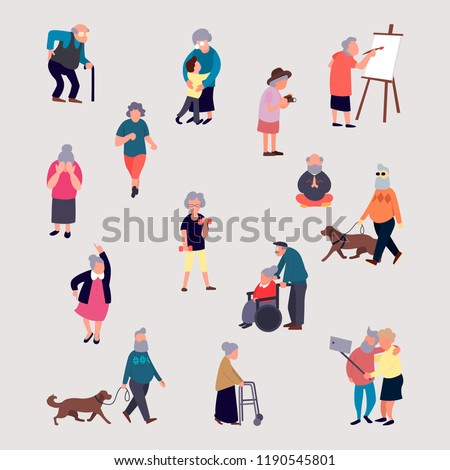 Cartoon elderly men and women performing outdoor activities on city street. Large set senior male and female recreation. Flat colorful vector illustration.