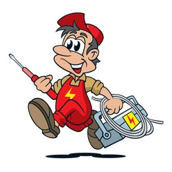 cartoon electrician running with screwdriver and toolbox