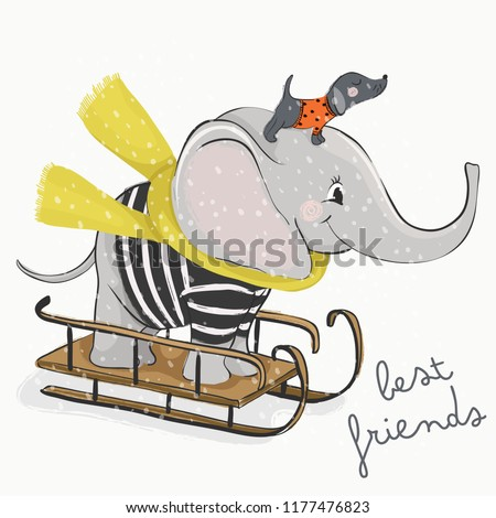 Cartoon elephant and dog vector design.Animal illustration.T shirt graphic.For children, birthday and baby shower celebration card.All kinds of surface printing, textile artwork.