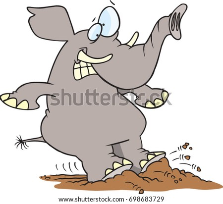 cartoon elephant coming to a quick halt