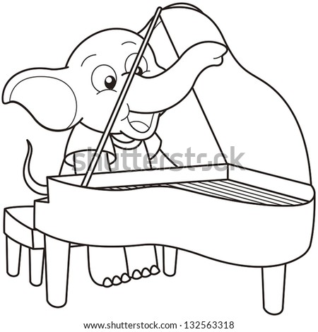 Grand Piano Cartoon Black And White a Piano Black And White