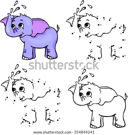 Cartoon elephant. Vector illustration. Coloring and dot to dot educational game for kids