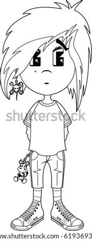 cartoon emo punk girl