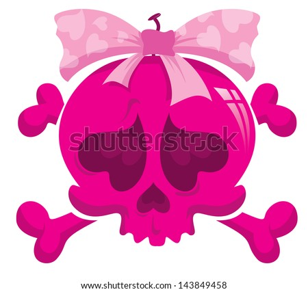 cartoon emo skull and bones
