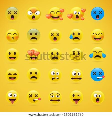 cartoon emoji collection set