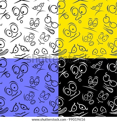 Cartoon emotions. Four seamless vector patterns.