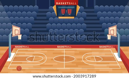 Cartoon empty hall field to play basketball team game, hoop for balls and seats for fan sector spectators, timer scoreboard indoor sport playground. Basketball court arena stadium vector illustration. Сток-фото ©