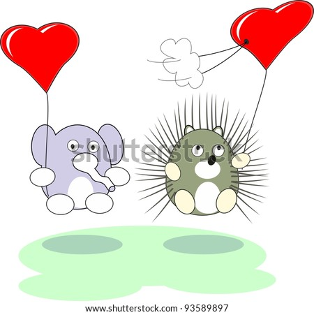 Cartoon enamored baby elephant and hedgehog toy with red heart balloons in love - vector isolated illustration,  white background - stock vector