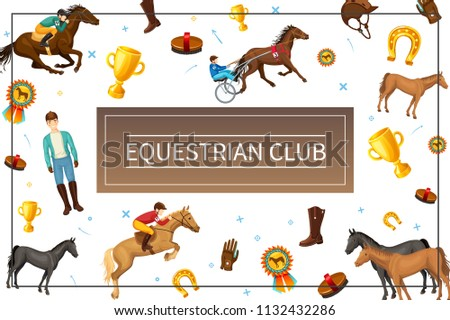 Cartoon Equestrian Club Concept With Riders Horses Brush Boot Glove Cap Medal Cup Horseshoe In Frame