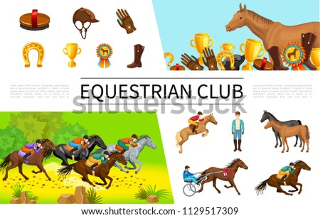 Cartoon Equestrian Sport Composition With Jockeys Riding Horses On Horseback And In Chariot Brush Cap Glove