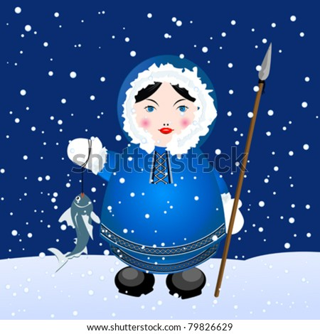 Cartoon eskimo girl with spear and caught fish over a snowing winter background