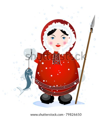 Cartoon eskimo with spear and caught fish on white background