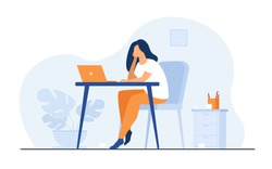 Cartoon exhausted woman sitting and table and working isolated flat vector illustration. Tired businesswoman with professional burnout syndrome. Tiredness and trouble concept