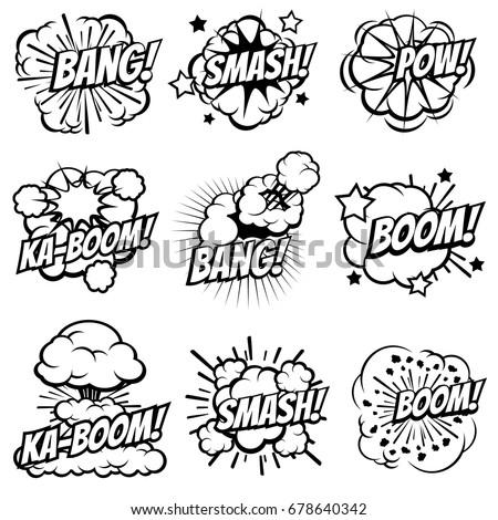 Cartoon explode icons. Comic book explosion bubbles. Pop art big bang and boom smoke clouds vector set. Blast cloud smoke, comic explosion bang and boom illustration Foto d'archivio ©