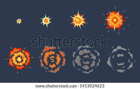 Cartoon explosion animation. Exploding effect frames, animated shot explode with smoke clouds vector illustration set ストックフォト ©