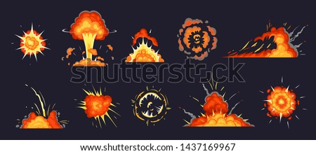 Cartoon explosion. Exploding bomb, atomic explode effect and comic explosions smoke clouds. Destruction explosion animation, comic bomb fire flame. Isolated vector illustration icons set