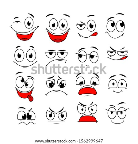 Cartoon expressions. Cute face elements eyes and mouths with happy, sad and angry, disbelief emotions. Caricature vector characters