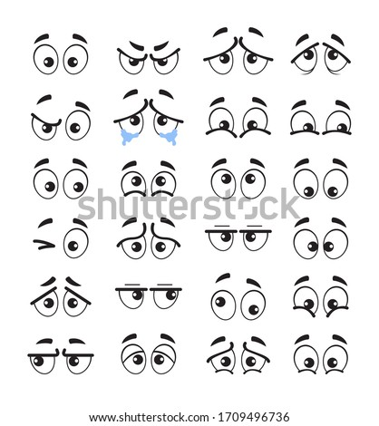Cartoon eyes emotion characters isolated set. Vector flat cartoon graphic design illustration