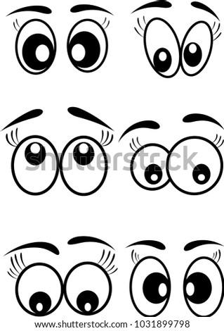 cartoon eyes icons set vector design. Beautiful illustration, #1031899798