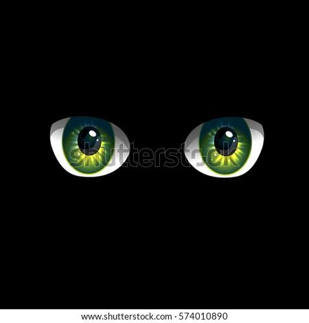 cartoon eyes on black