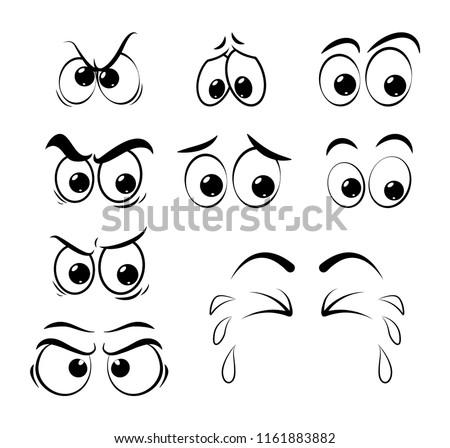 cartoon eyes set - sad, angry, cry  isolated on white background #1161883882