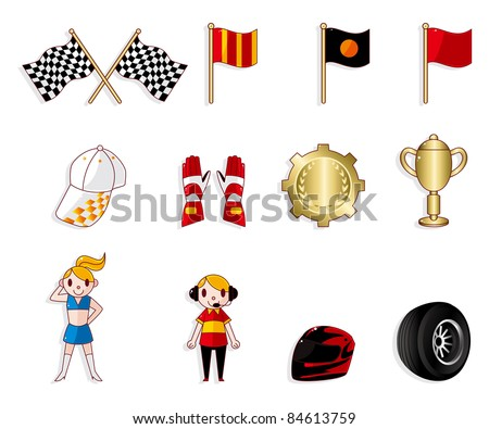 cartoon f1 car racing icon set