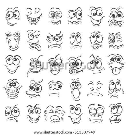 Cartoon face Emotion set. Various facial expressions in doodle style isolated on white. Vector illustration. #513507949
