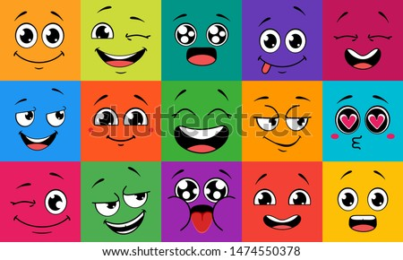 Cartoon face expressions. Happy surprised faces, doodle characters mouth and eyes. Face doodle or shy, love and kiss kawaii manga emotion. Emoticon comic avatar vector illustration set