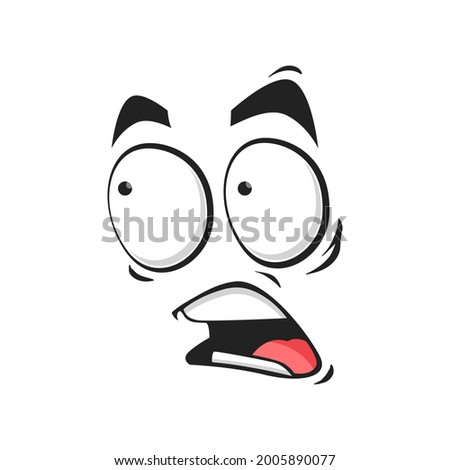 Cartoon face frightened emoji, vector scared facial expression with wide open or goggle eyes and yelling mouth. Fear or worry feelings isolated on white background Stock photo ©