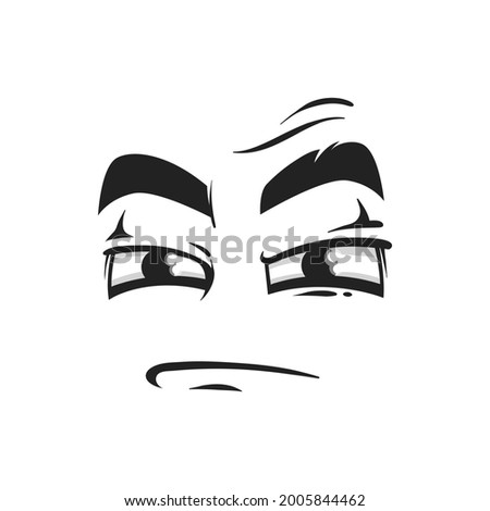 Cartoon face vector icon, suspecting emoji with squinted eyes and closed mouth. Facial expression, suspect funny feelings isolated on white background Stock photo ©