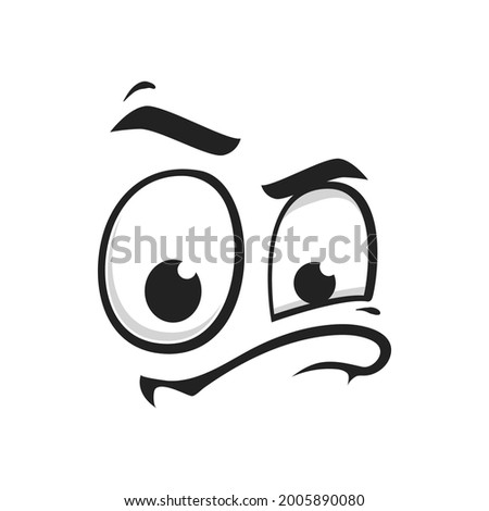 Cartoon face vector icon, suspecting emoji with squinted eyes and closed mouth with thick lip. Facial expression, suspect funny feelings isolated on white background Stock photo ©