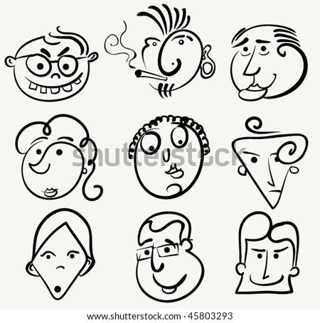 funny cartoon faces. stock vector : Cartoon face