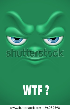 Cartoon face with angry emotion. Vector.