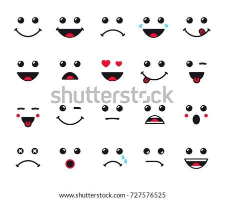 Cartoon faces expression line icons set. Set of emoticons or emoji illustration line icons. Smile icons line art isolated vector illustration on white background