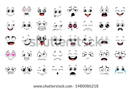 Cartoon faces. Expressive eyes and mouth, smiling, crying and surprised character face expressions. Caricature comic emotions or emoticon doodle. Isolated vector illustration icons set. Emotions.