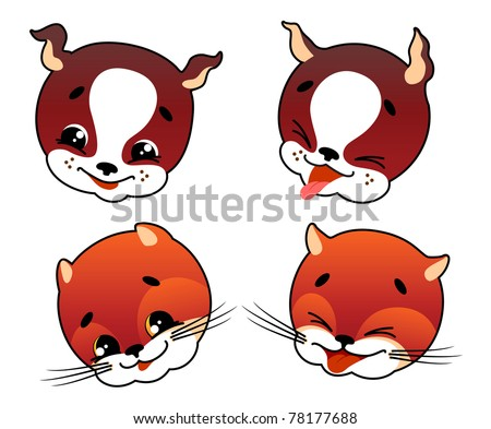 Cartoon faces of cat and dog with emotional expression