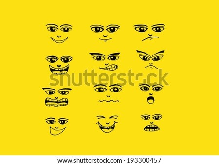 Cartoon faces Set hand drawing illustration #193300457