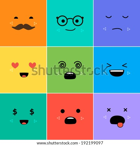cartoon faces with emotions v3