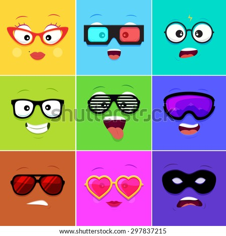 cartoon faces with emotions v