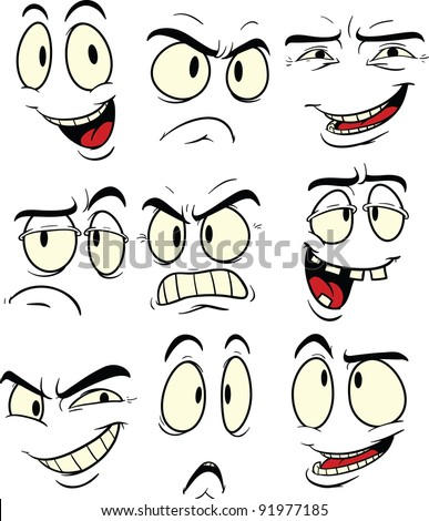 Cartoon Facial Expressions. Vector Illustration. Each Element In A ...