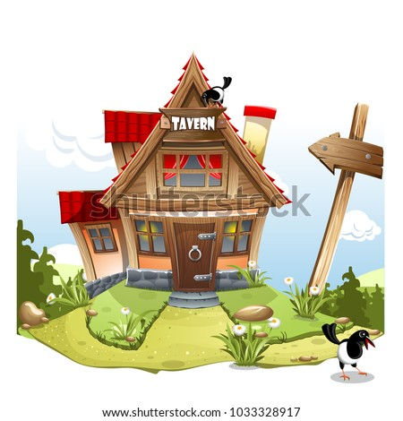 Cartoon Fairy House on a green hill with a signboard