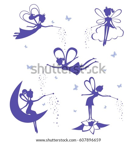 cartoon fairy silhouette vector