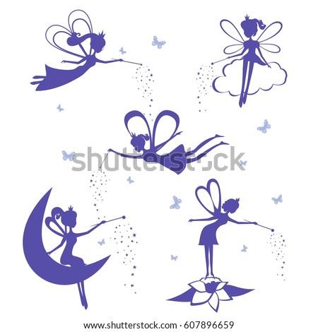 Cartoon fairy silhouette vector set. Set of Blue Fairies Silhouette stencil isolated on white background. Fairies vector illustration.