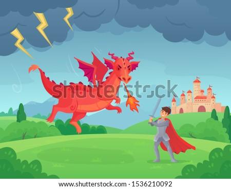Cartoon fairytale knight fights dragon. Swordsman fighting evil monster, hero battle with dragons medieval legend. Good and bad character fantastic battlefield war scene vector illustration