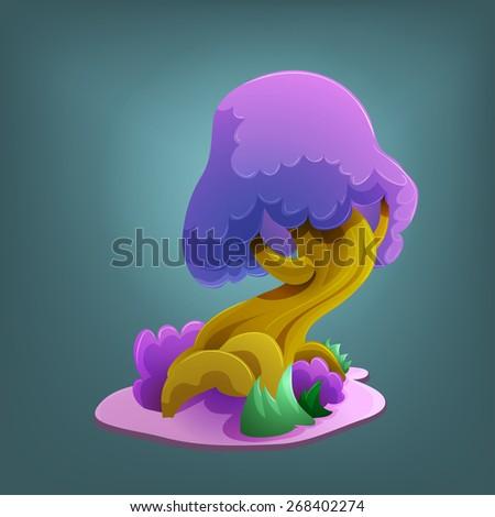 Cartoon fairytale tree. Vector illustration.